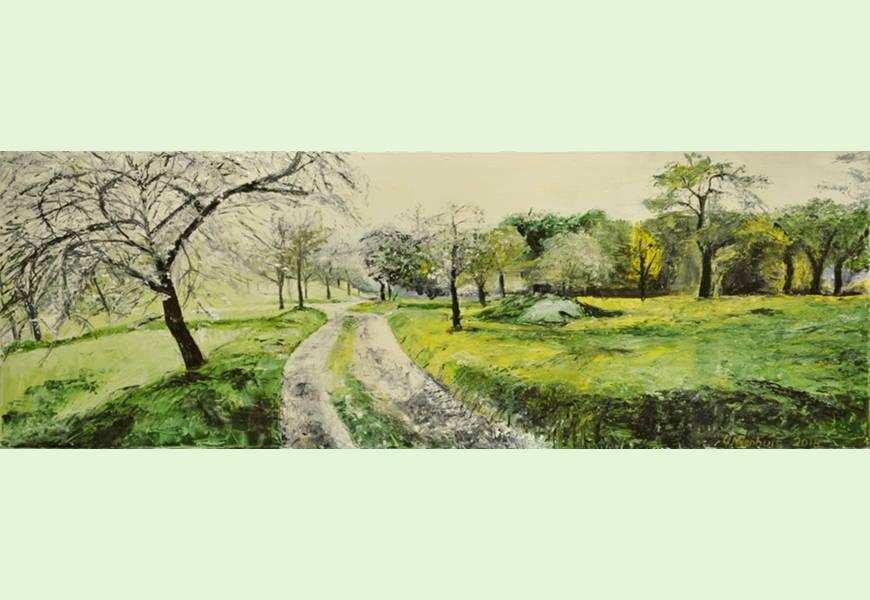 Feldweg im Frühling, Gemälde